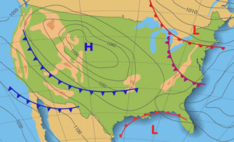 United States weather map example - with isobars and weather fronts