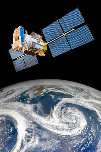 weather satellite over planet earth
